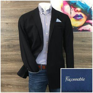 FACONNABLE Mens Sport Coat Blazer Wool Cotton Navy